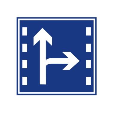 直行和右转合用车道标志