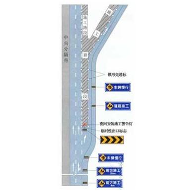 高速公路出口三角地带附近施工标志