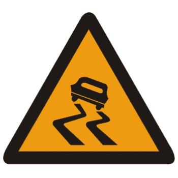 易滑路段标志