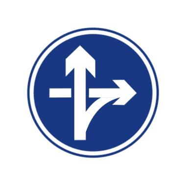 立交直行和右转弯行驶标志
